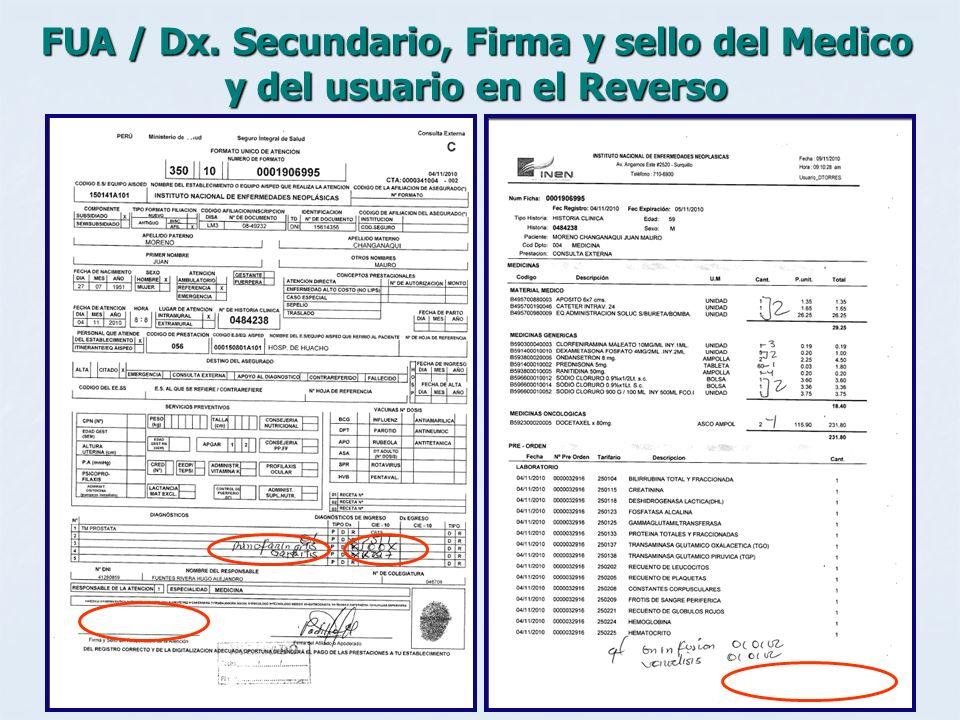 FUA / Dx. Secundario, Firma y sello del Medico y del usuario en el Reverso