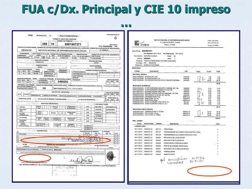 FUA c/Dx. Principal y CIE 10 impreso …