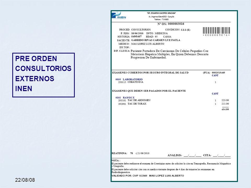 22/08/08 PRE ORDEN CONSULTORIOSEXTERNOSINEN