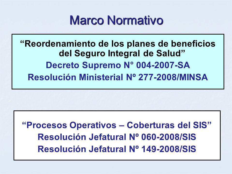 Marco Normativo Reordenamiento de los planes de beneficios del Seguro Integral de Salud Decreto Supremo N° 004-2007-SA Resolución Ministerial Nº 277-2