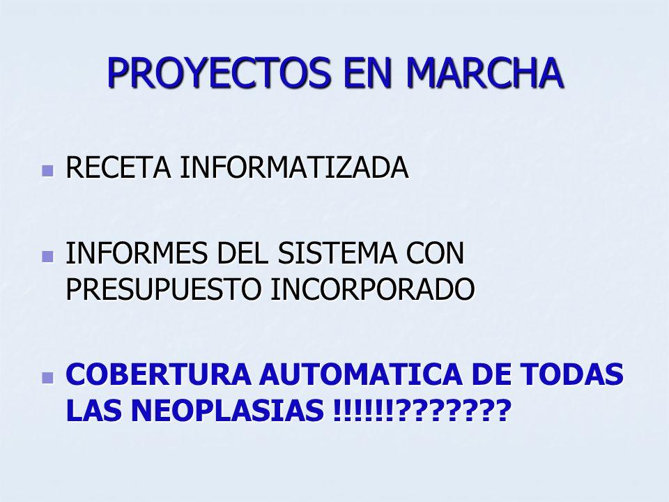PROYECTOS EN MARCHA RECETA INFORMATIZADA RECETA INFORMATIZADA INFORMES DEL SISTEMA CON PRESUPUESTO INCORPORADO INFORMES DEL SISTEMA CON PRESUPUESTO IN