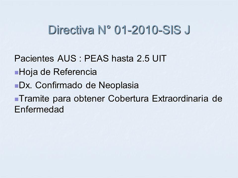 Directiva N° 01-2010-SIS J Pacientes AUS : PEAS hasta 2.5 UIT Hoja de Referencia Hoja de Referencia Dx. Confirmado de Neoplasia Dx. Confirmado de Neop
