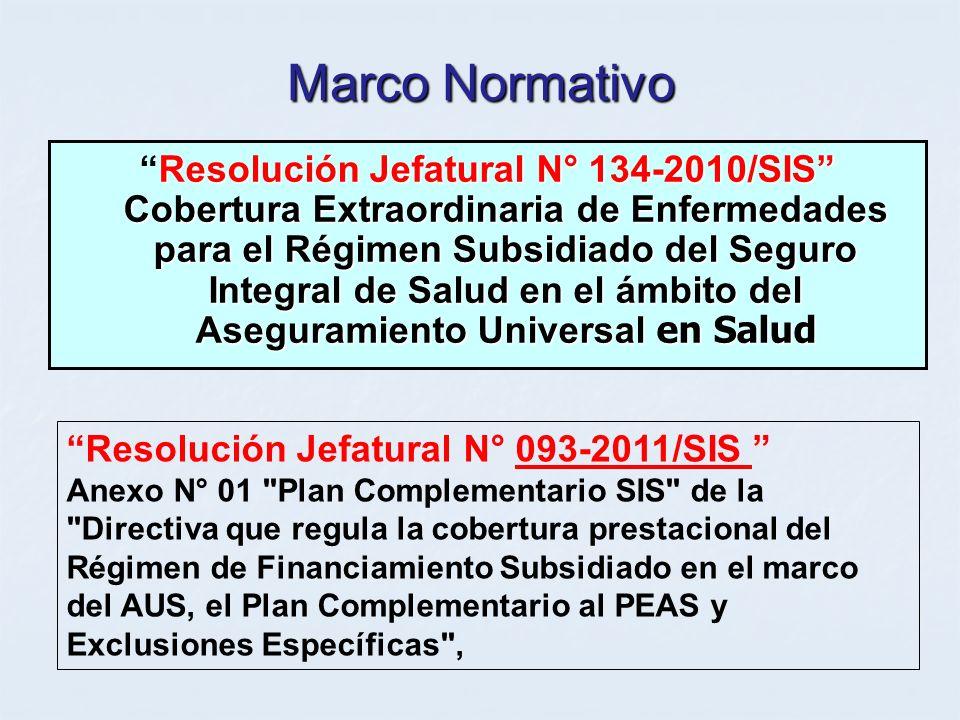 Marco Normativo Resolución Jefatural N° 134-2010/SIS Cobertura Extraordinaria de Enfermedades para el Régimen Subsidiado del Seguro Integral de Salud