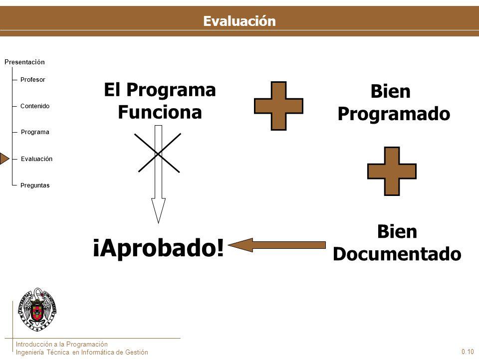 Presentación Profesor Contenido Programa Evaluación Preguntas Introducción a la Programación Ingeniería Técnica en Informática de Gestión Evaluación E