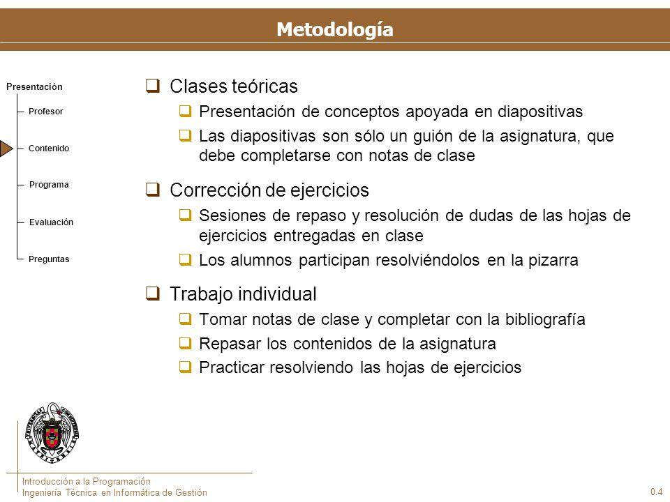 Presentación Profesor Contenido Programa Evaluación Preguntas Introducción a la Programación Ingeniería Técnica en Informática de Gestión Metodología