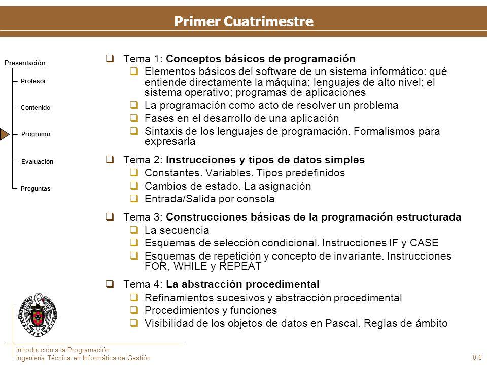 Presentación Profesor Contenido Programa Evaluación Preguntas Introducción a la Programación Ingeniería Técnica en Informática de Gestión 0.6 Primer C