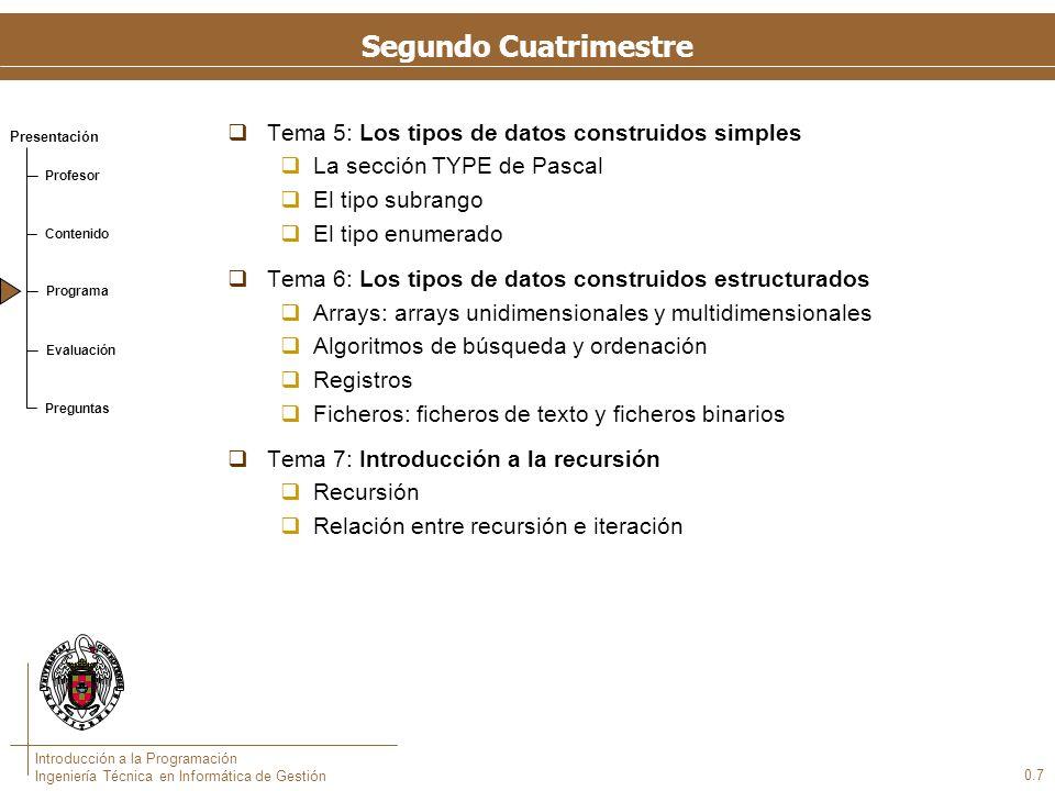 Presentación Profesor Contenido Programa Evaluación Preguntas Introducción a la Programación Ingeniería Técnica en Informática de Gestión Segundo Cuat