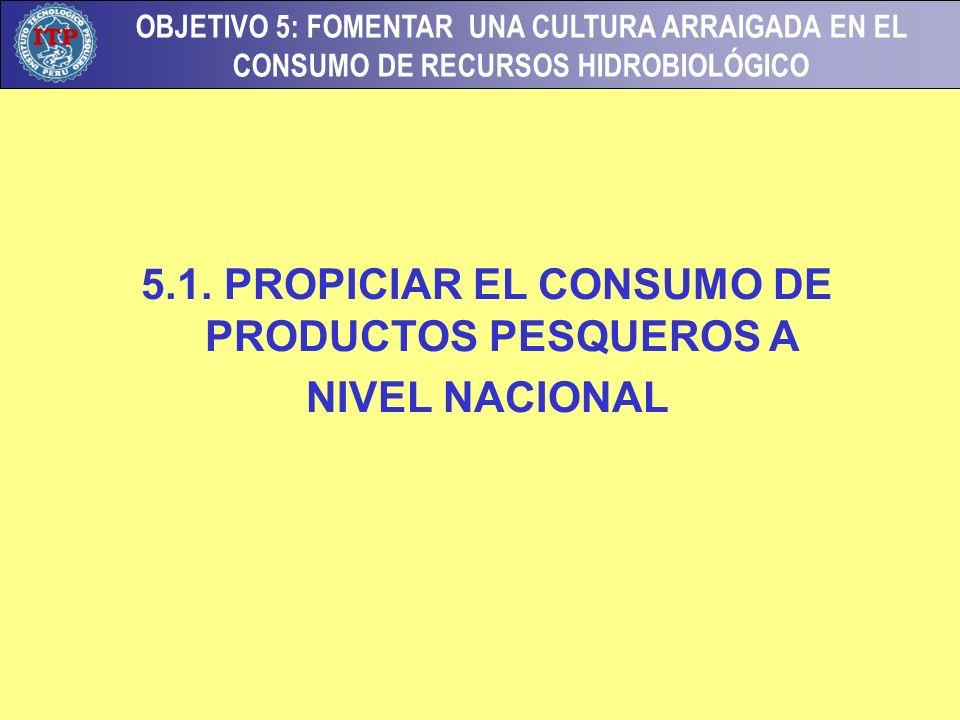 OBJETIVO 5: FOMENTAR UNA CULTURA ARRAIGADA EN EL CONSUMO DE RECURSOS HIDROBIOLÓGICO 5.1. PROPICIAR EL CONSUMO DE PRODUCTOS PESQUEROS A NIVEL NACIONAL