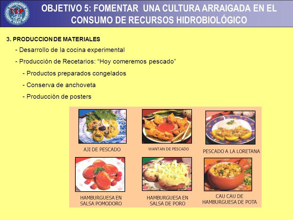 OBJETIVO 5: FOMENTAR UNA CULTURA ARRAIGADA EN EL CONSUMO DE RECURSOS HIDROBIOLÓGICO 3.