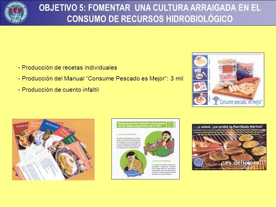 OBJETIVO 5: FOMENTAR UNA CULTURA ARRAIGADA EN EL CONSUMO DE RECURSOS HIDROBIOLÓGICO - Producción de recetas individuales - Producción del Manual Consume Pescado es Mejor: 3 mil - Producciòn de cuento infaltil