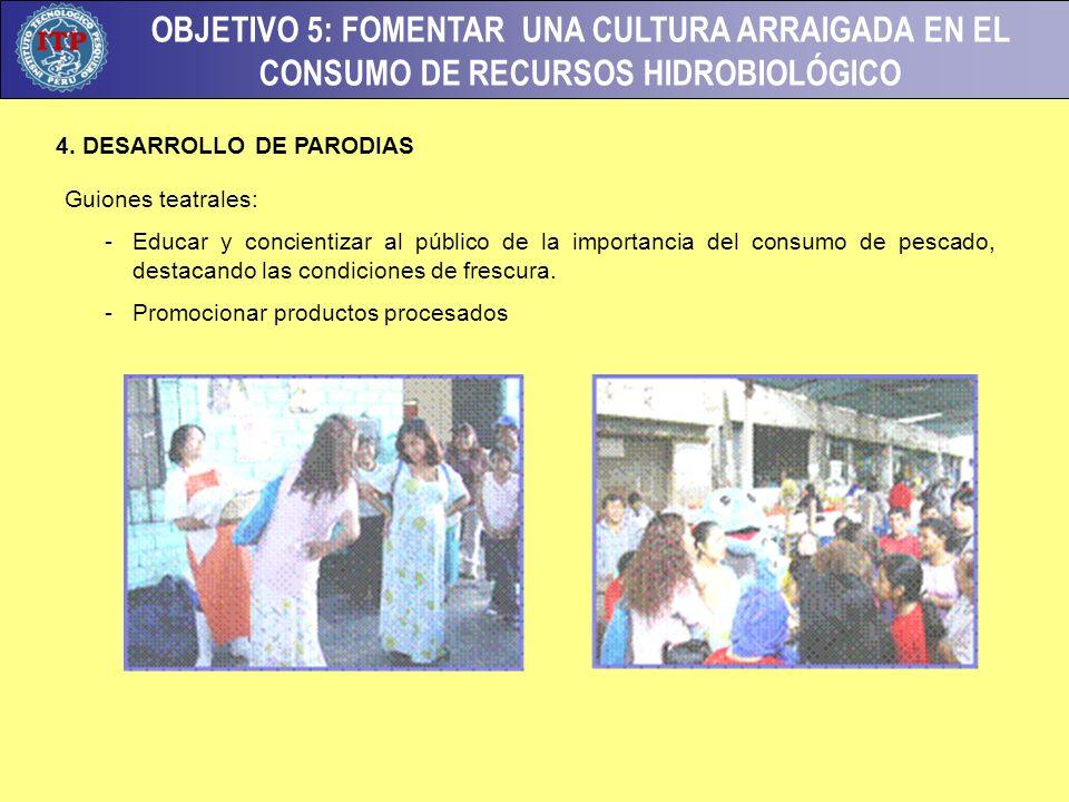 OBJETIVO 5: FOMENTAR UNA CULTURA ARRAIGADA EN EL CONSUMO DE RECURSOS HIDROBIOLÓGICO 4. DESARROLLO DE PARODIAS Guiones teatrales: - Educar y concientiz