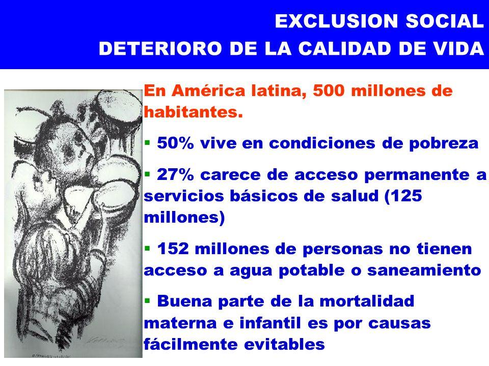 EXCLUSION SOCIAL DETERIORO DE LA CALIDAD DE VIDA En América latina, 500 millones de habitantes. 50% vive en condiciones de pobreza 27% carece de acces