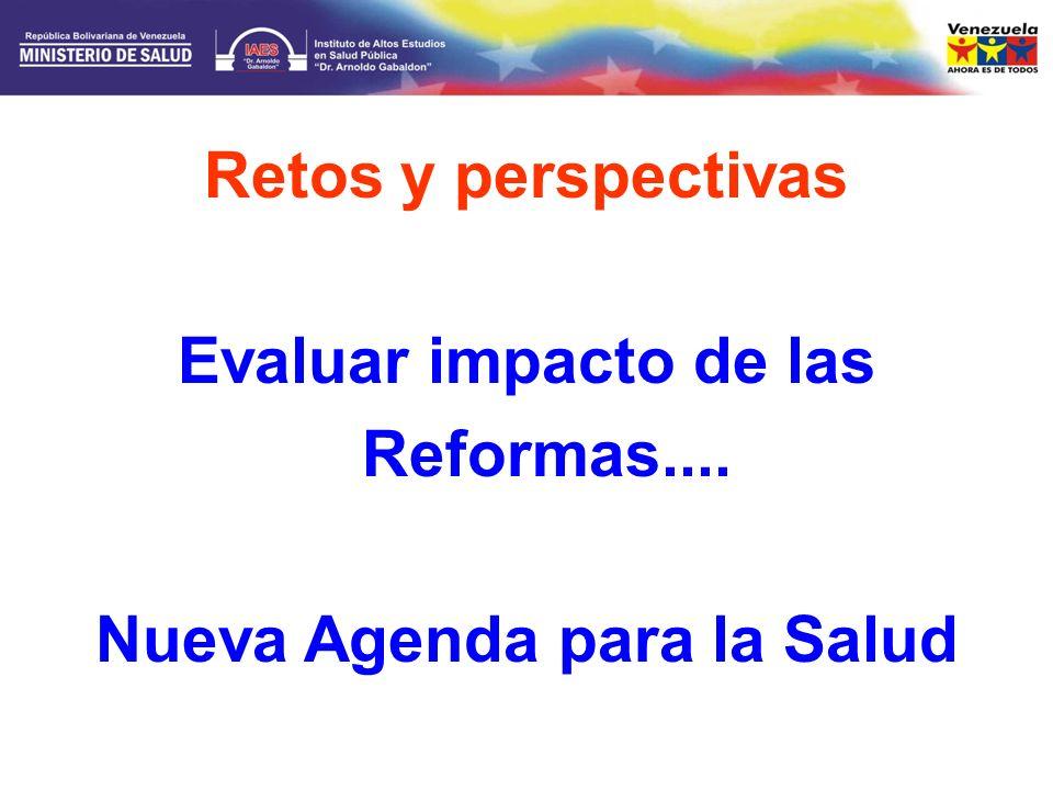 Evaluar impacto de las Reformas.... Nueva Agenda para la Salud