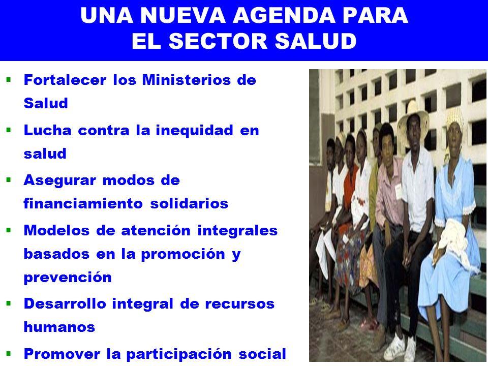 UNA NUEVA AGENDA PARA EL SECTOR SALUD Fortalecer los Ministerios de Salud Lucha contra la inequidad en salud Asegurar modos de financiamiento solidari