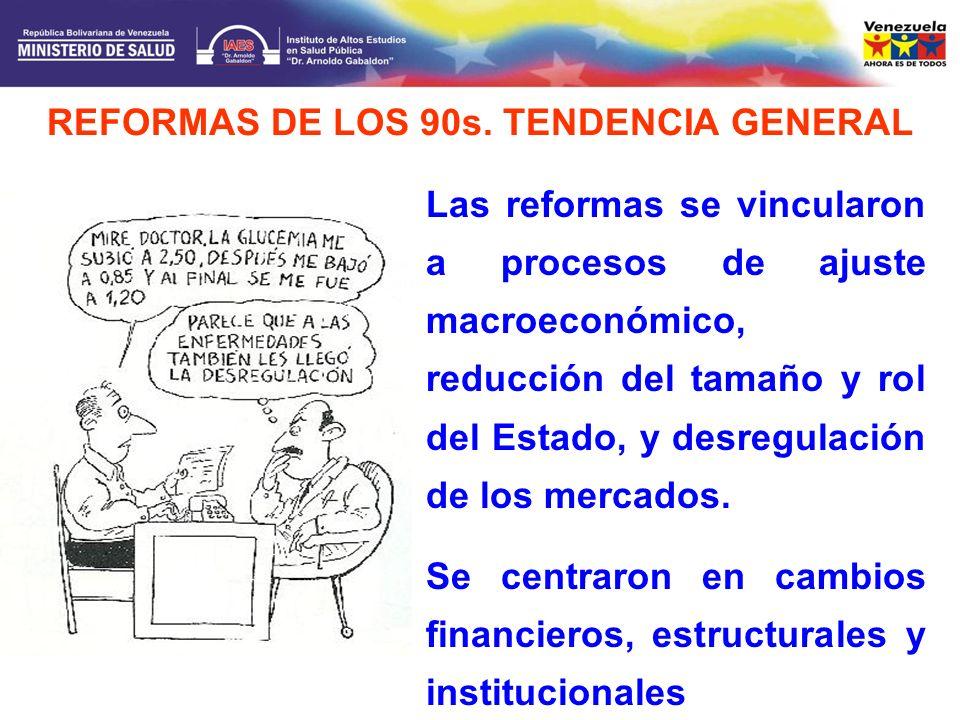 Las reformas se vincularon a procesos de ajuste macroeconómico, reducción del tamaño y rol del Estado, y desregulación de los mercados. Se centraron e