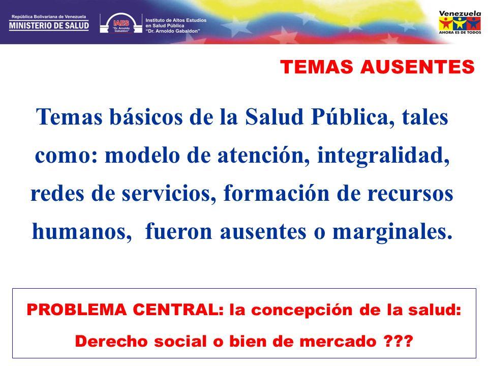 TEMAS AUSENTES PROBLEMA CENTRAL: la concepción de la salud: Derecho social o bien de mercado ??? Temas básicos de la Salud Pública, tales como: modelo