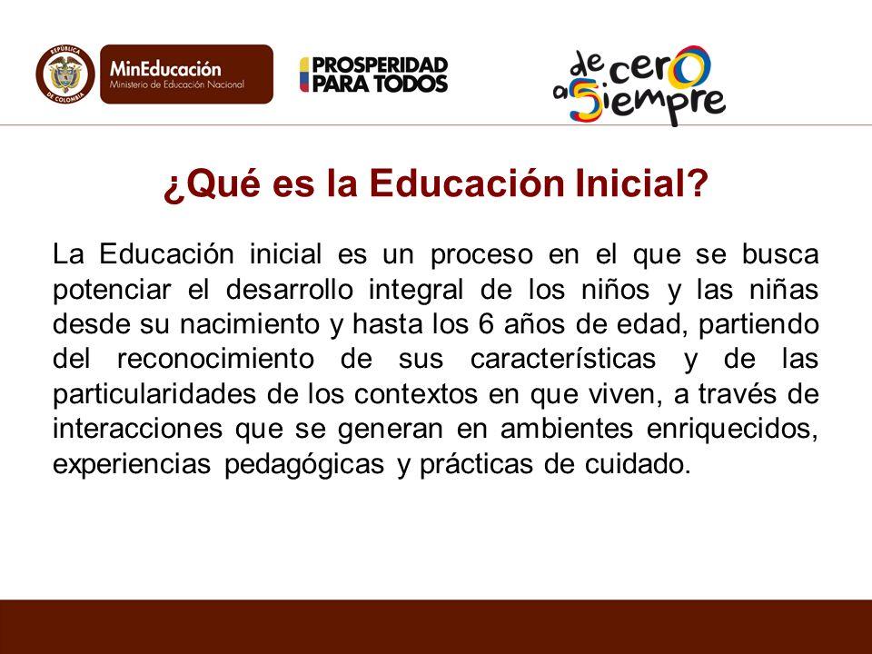 ¿Qué es la Educación Inicial? La Educación inicial es un proceso en el que se busca potenciar el desarrollo integral de los niños y las niñas desde su