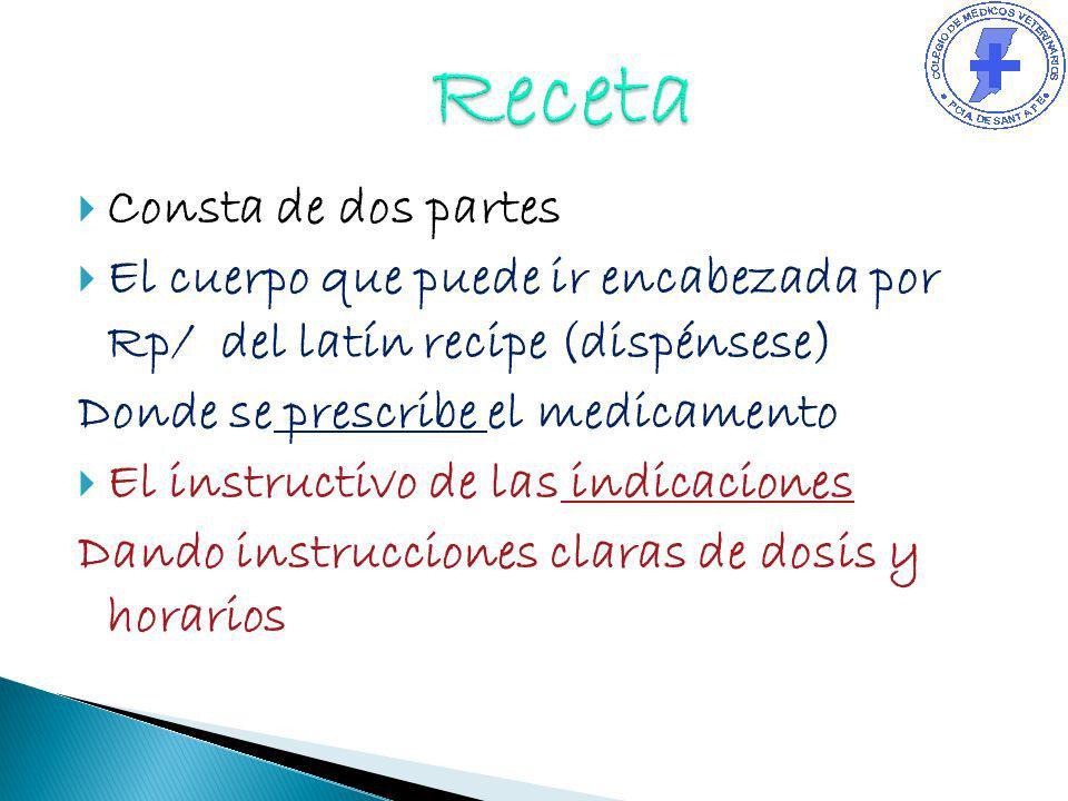 Consta de dos partes El cuerpo que puede ir encabezada por Rp/ del latín recipe (dispénsese) Donde se prescribe el medicamento El instructivo de las i