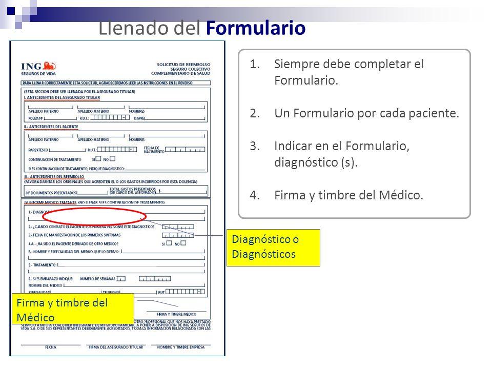 Llenado del Formulario 1.Siempre debe completar el Formulario. 2.Un Formulario por cada paciente. 3.Indicar en el Formulario, diagnóstico (s). 4.Firma