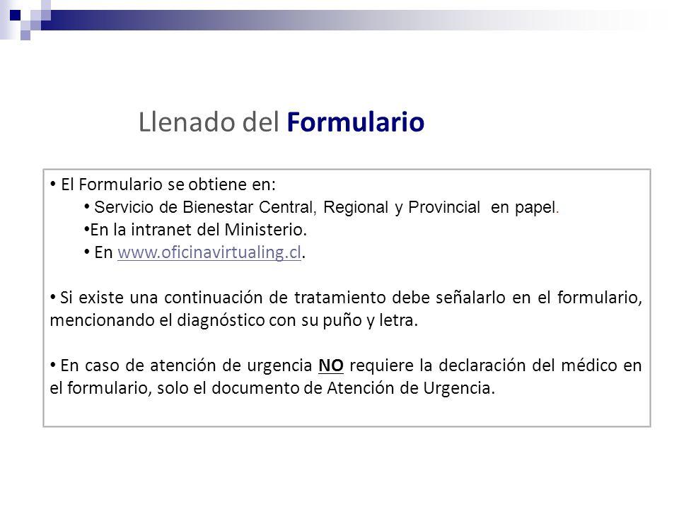 El Formulario se obtiene en: Servicio de Bienestar Central, Regional y Provincial en papel. En la intranet del Ministerio. En www.oficinavirtualing.cl