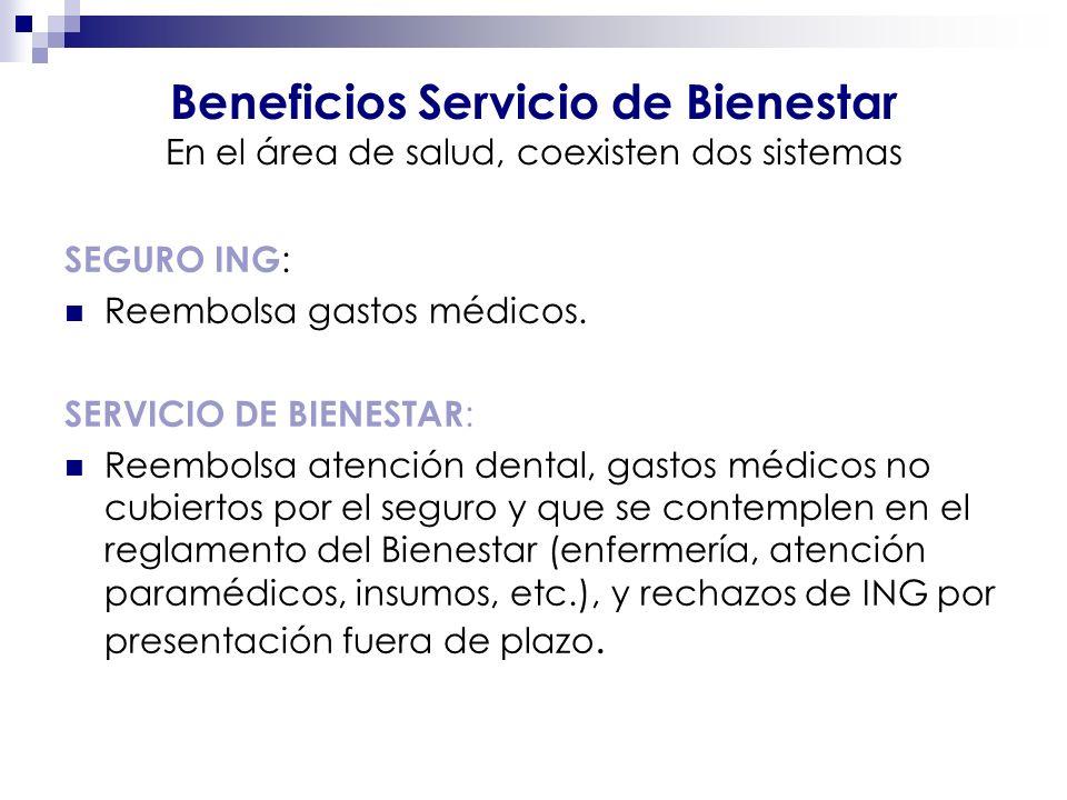 Beneficios Servicio de Bienestar En el área de salud, coexisten dos sistemas SEGURO ING : Reembolsa gastos médicos. SERVICIO DE BIENESTAR : Reembolsa
