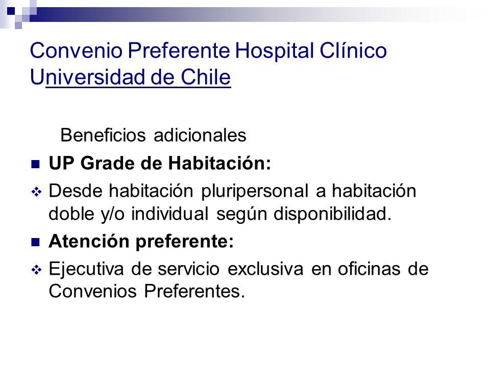 Convenio Preferente Hospital Clínico Universidad de Chile Beneficios adicionales UP Grade de Habitación: Desde habitación pluripersonal a habitación doble y/o individual según disponibilidad.