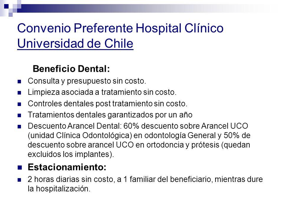 Convenio Preferente Hospital Clínico Universidad de Chile Beneficio Dental: Consulta y presupuesto sin costo. Limpieza asociada a tratamiento sin cost