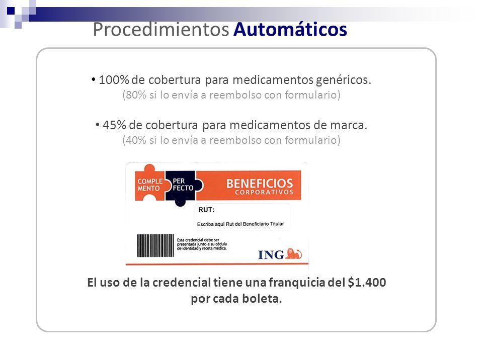 100% de cobertura para medicamentos genéricos. (80% si lo envía a reembolso con formulario) 45% de cobertura para medicamentos de marca. (40% si lo en