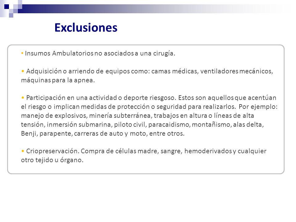 Insumos Ambulatorios no asociados a una cirugía.