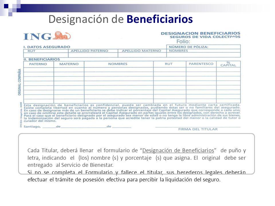 Designación de Beneficiarios Cada Titular, deberá llenar el formulario de Designación de Beneficiarios de puño y letra, indicando el (los) nombre (s) y porcentaje (s) que asigna.