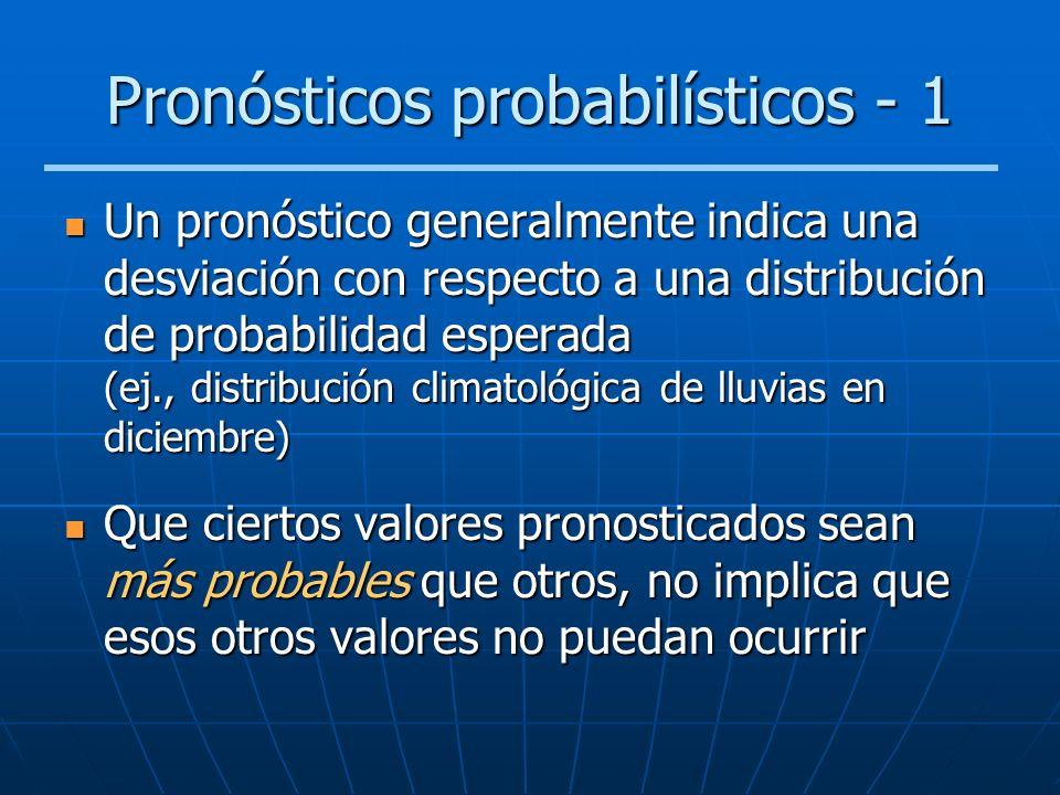 Pronósticos probabilísticos - 1 Un pronóstico generalmente indica una desviación con respecto a una distribución de probabilidad esperada (ej., distri