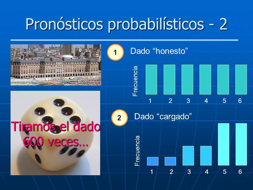 Pronósticos probabilísticos - 2 2 Dado cargado 1 23456 Frecuencia 1 23456 Dado honesto 1 Tiramos el dado 600 veces…