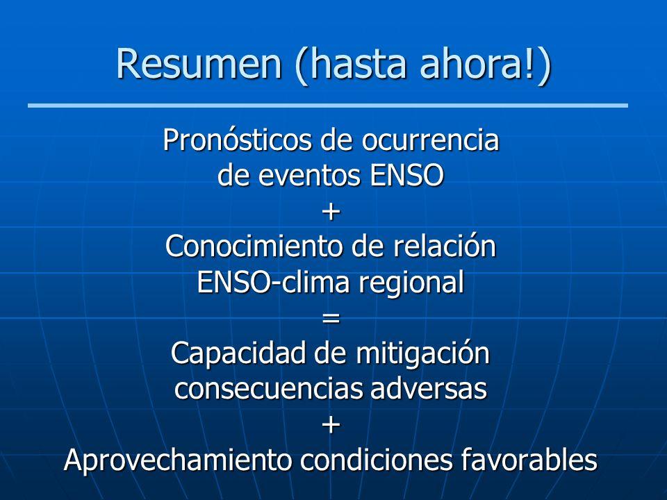 Resumen (hasta ahora!) Pronósticos de ocurrencia de eventos ENSO + Conocimiento de relación ENSO-clima regional = Capacidad de mitigación consecuencia