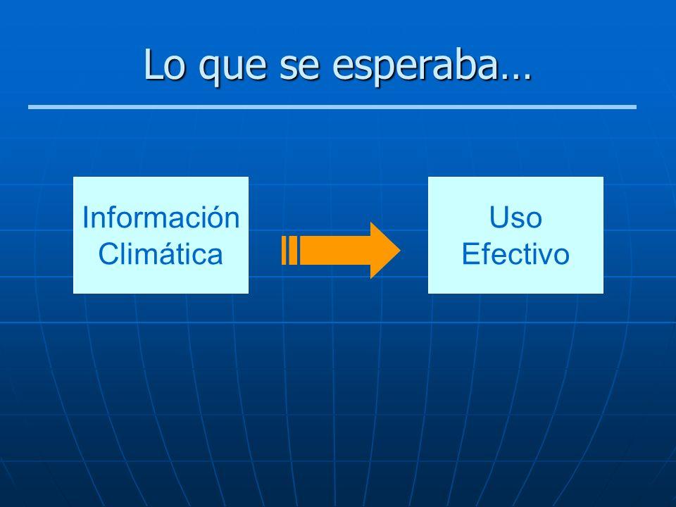 Lo que se esperaba… Información Climática Uso Efectivo