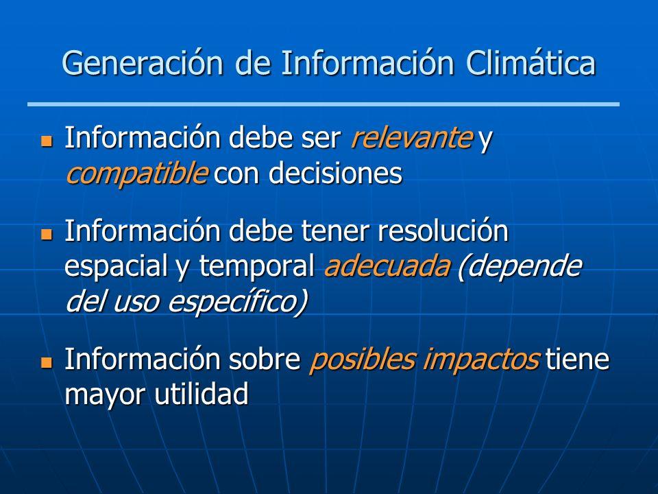 Generación de Información Climática Información debe ser relevante y compatible con decisiones Información debe ser relevante y compatible con decisio