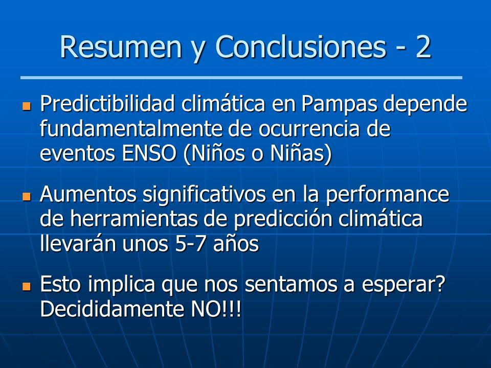 Resumen y Conclusiones - 2 Predictibilidad climática en Pampas depende fundamentalmente de ocurrencia de eventos ENSO (Niños o Niñas) Predictibilidad