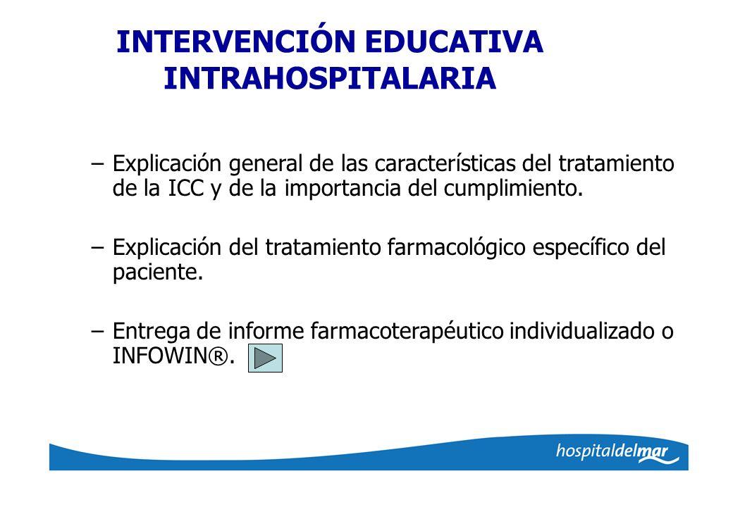 INTERVENCIÓN EDUCATIVA INTRAHOSPITALARIA –Explicación general de las características del tratamiento de la ICC y de la importancia del cumplimiento. –