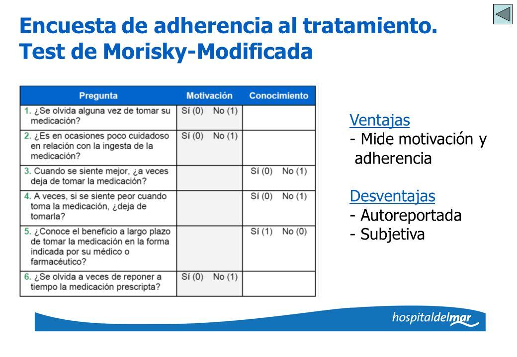 Encuesta de adherencia al tratamiento. Test de Morisky-Modificada Ventajas - Mide motivación y adherencia Desventajas - Autoreportada - Subjetiva