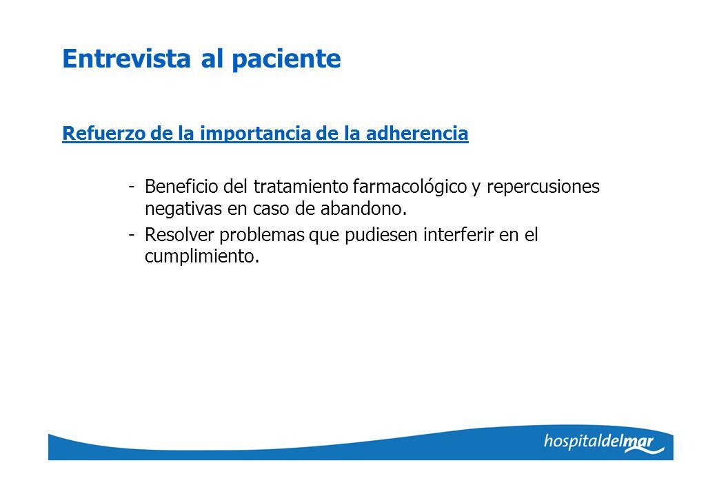 Entrevista al paciente Refuerzo de la importancia de la adherencia -Beneficio del tratamiento farmacológico y repercusiones negativas en caso de aband