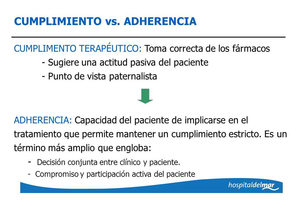 CUMPLIMIENTO vs. ADHERENCIA CUMPLIMENTO TERAPÉUTICO: Toma correcta de los fármacos - Sugiere una actitud pasiva del paciente - Punto de vista paternal