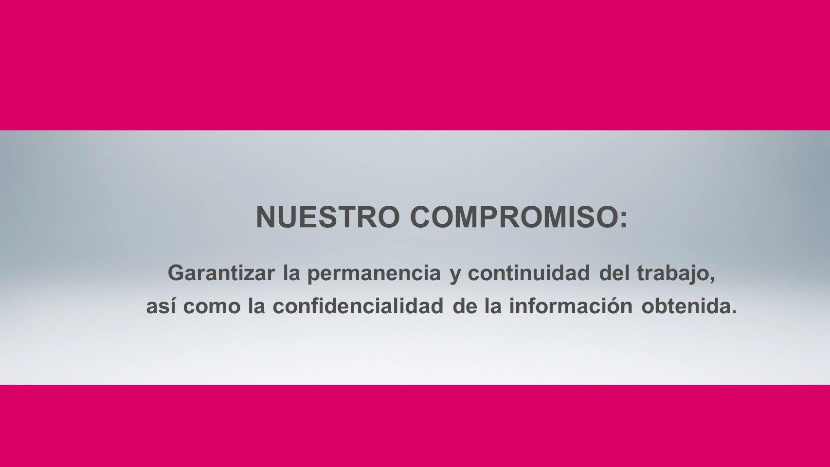 Garantizar la permanencia y continuidad del trabajo, así como la confidencialidad de la información obtenida. NUESTRO COMPROMISO: