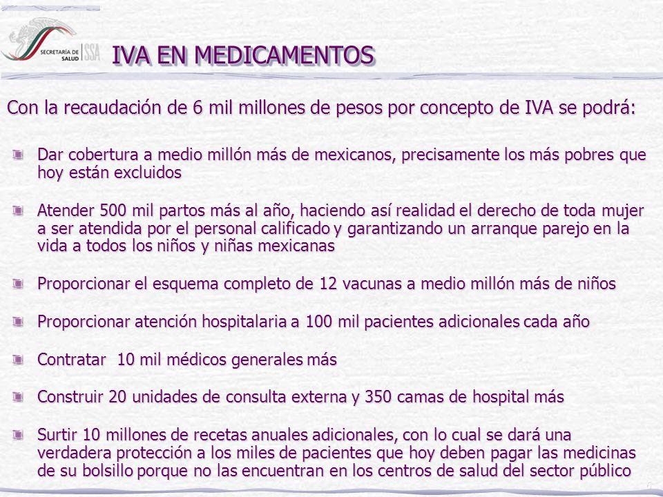 6 IVA EN MEDICAMENTOS Dar cobertura a medio millón más de mexicanos, precisamente los más pobres que hoy están excluidos Atender 500 mil partos más al año, haciendo así realidad el derecho de toda mujer a ser atendida por el personal calificado y garantizando un arranque parejo en la vida a todos los niños y niñas mexicanas Proporcionar el esquema completo de 12 vacunas a medio millón más de niños Proporcionar atención hospitalaria a 100 mil pacientes adicionales cada año Contratar 10 mil médicos generales más Construir 20 unidades de consulta externa y 350 camas de hospital más Surtir 10 millones de recetas anuales adicionales, con lo cual se dará una verdadera protección a los miles de pacientes que hoy deben pagar las medicinas de su bolsillo porque no las encuentran en los centros de salud del sector público Con la recaudación de 6 mil millones de pesos por concepto de IVA se podrá: