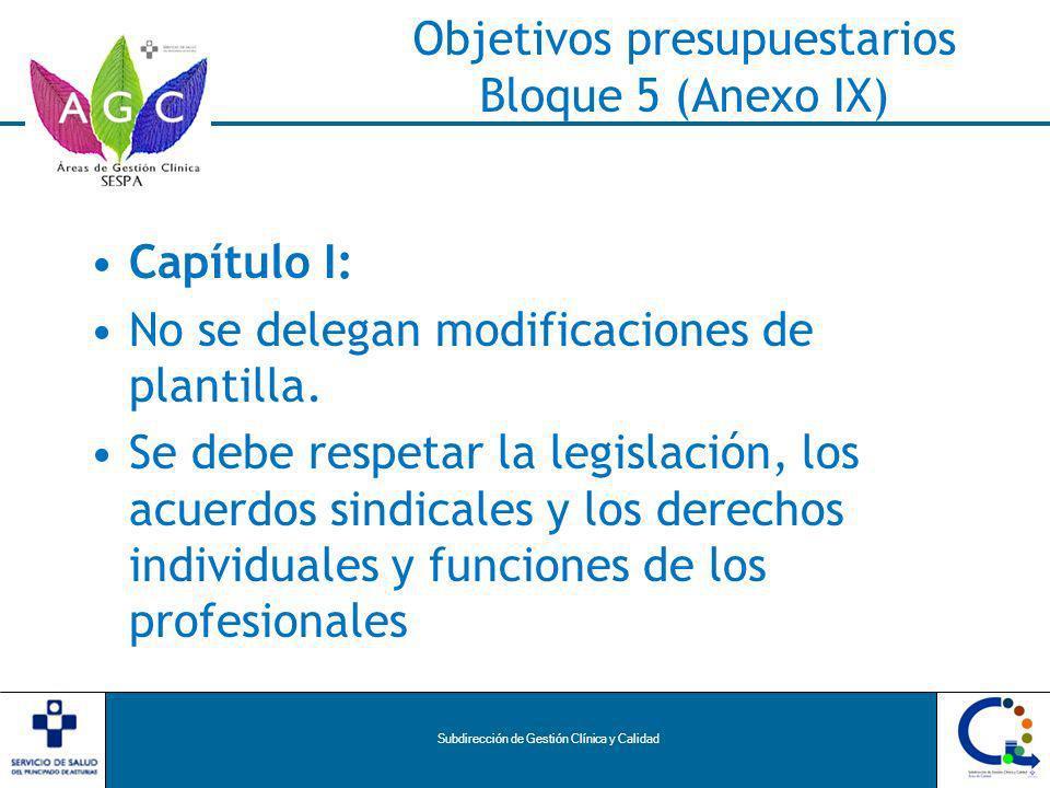 Subdirección de Gestión Clínica y Calidad Objetivos presupuestarios Bloque 5 (Anexo IX) Capítulo I: No se delegan modificaciones de plantilla.