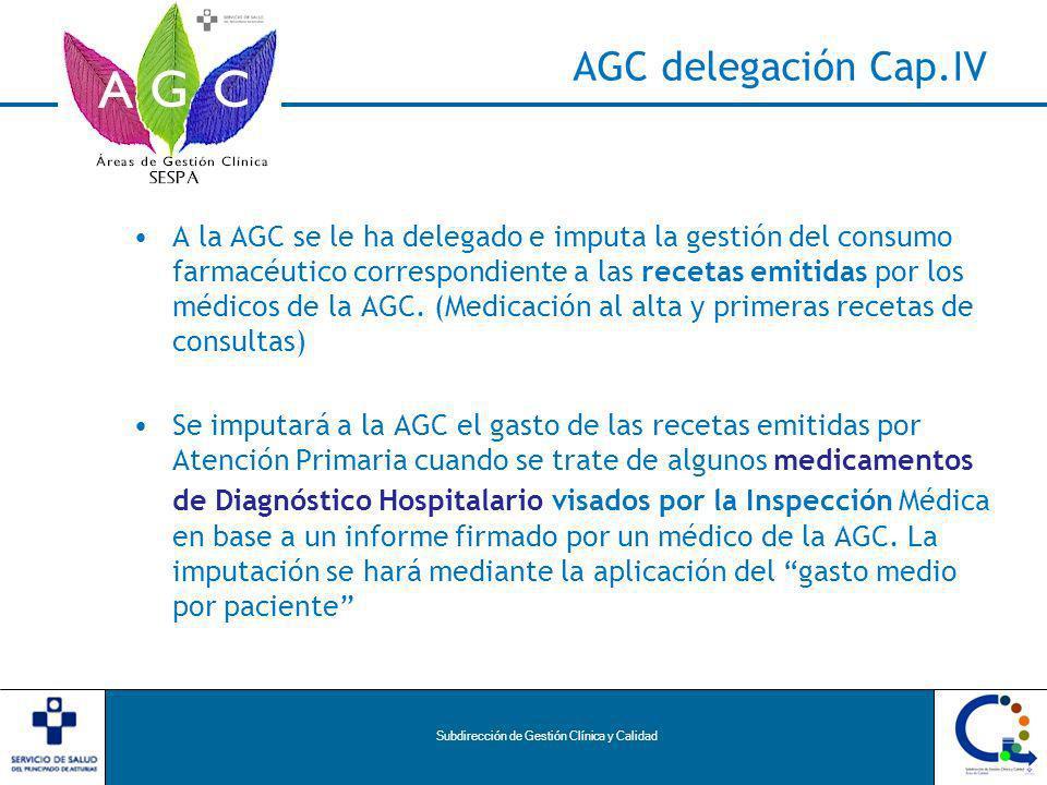 Subdirección de Gestión Clínica y Calidad AGC delegación Cap.IV A la AGC se le ha delegado e imputa la gestión del consumo farmacéutico correspondiente a las recetas emitidas por los médicos de la AGC.