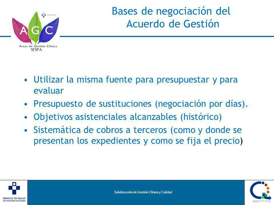 Subdirección de Gestión Clínica y Calidad Bases de negociación del Acuerdo de Gestión Utilizar la misma fuente para presupuestar y para evaluar Presupuesto de sustituciones (negociación por días).
