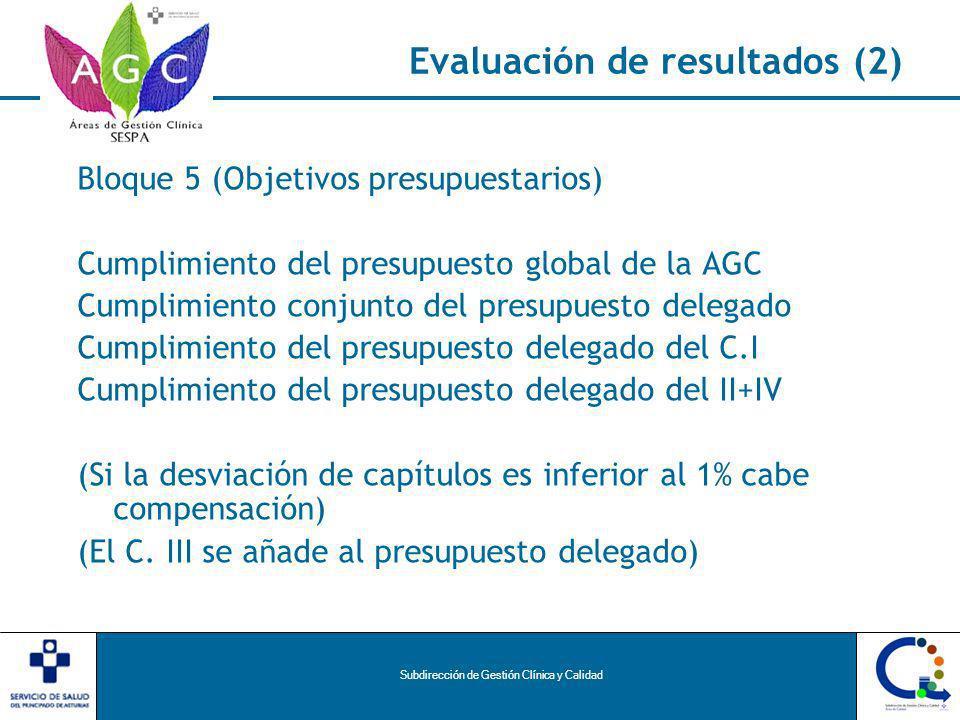 Subdirección de Gestión Clínica y Calidad Evaluación de resultados (2) Bloque 5 (Objetivos presupuestarios) Cumplimiento del presupuesto global de la AGC Cumplimiento conjunto del presupuesto delegado Cumplimiento del presupuesto delegado del C.I Cumplimiento del presupuesto delegado del II+IV (Si la desviación de capítulos es inferior al 1% cabe compensación) (El C.