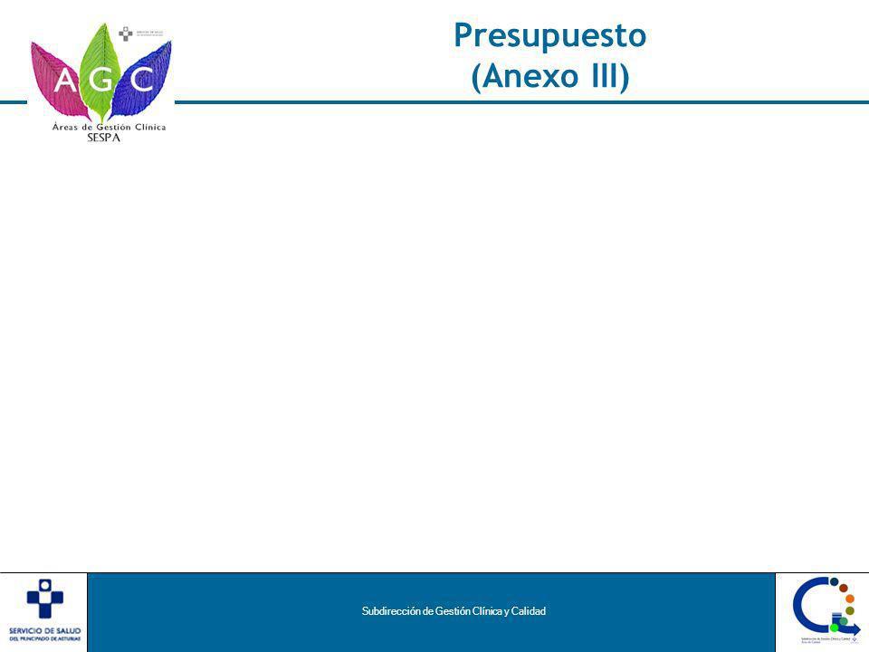 Subdirección de Gestión Clínica y Calidad Presupuesto (Anexo III)