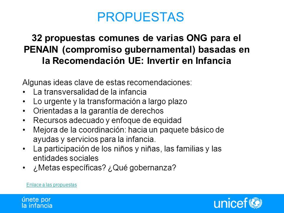 PROPUESTAS 32 propuestas comunes de varias ONG para el PENAIN (compromiso gubernamental) basadas en la Recomendación UE: Invertir en Infancia Algunas