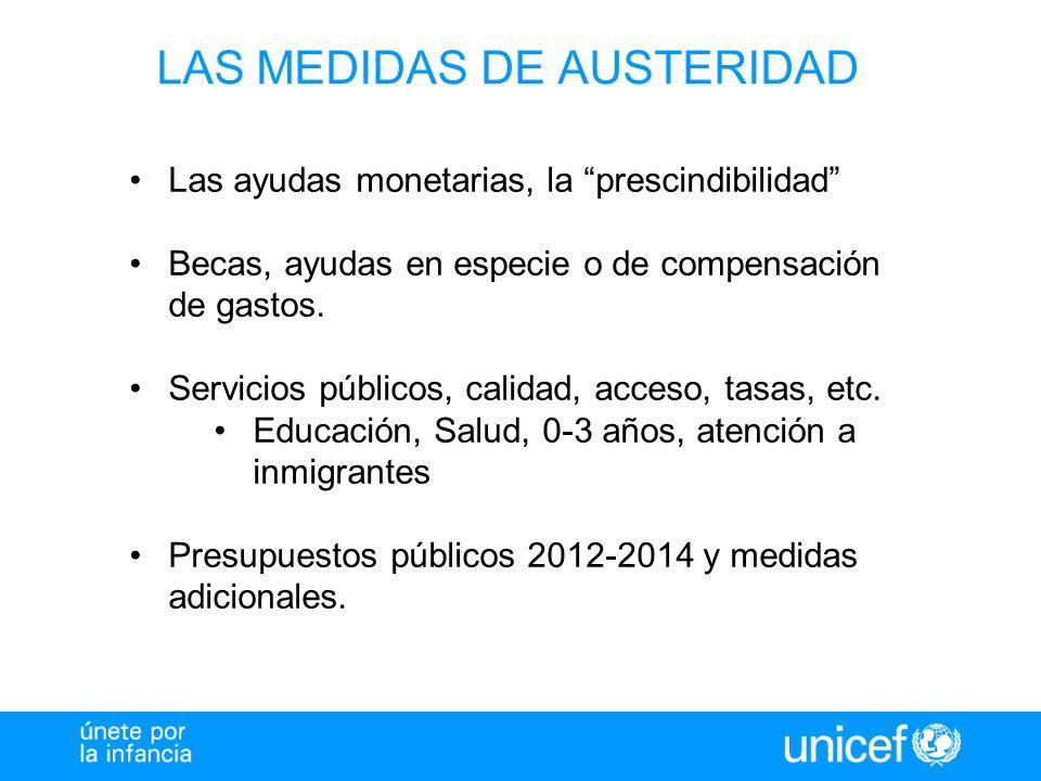 LAS MEDIDAS DE AUSTERIDAD Las ayudas monetarias, la prescindibilidad Becas, ayudas en especie o de compensación de gastos. Servicios públicos, calidad
