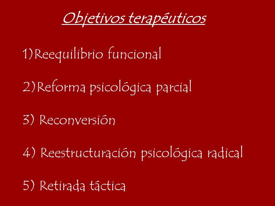 Objetivos terapéuticos 1)Reequilibrio funcional 2)Reforma psicológica parcial 3) Reconversión 4) Reestructuración psicológica radical 5) Retirada táct